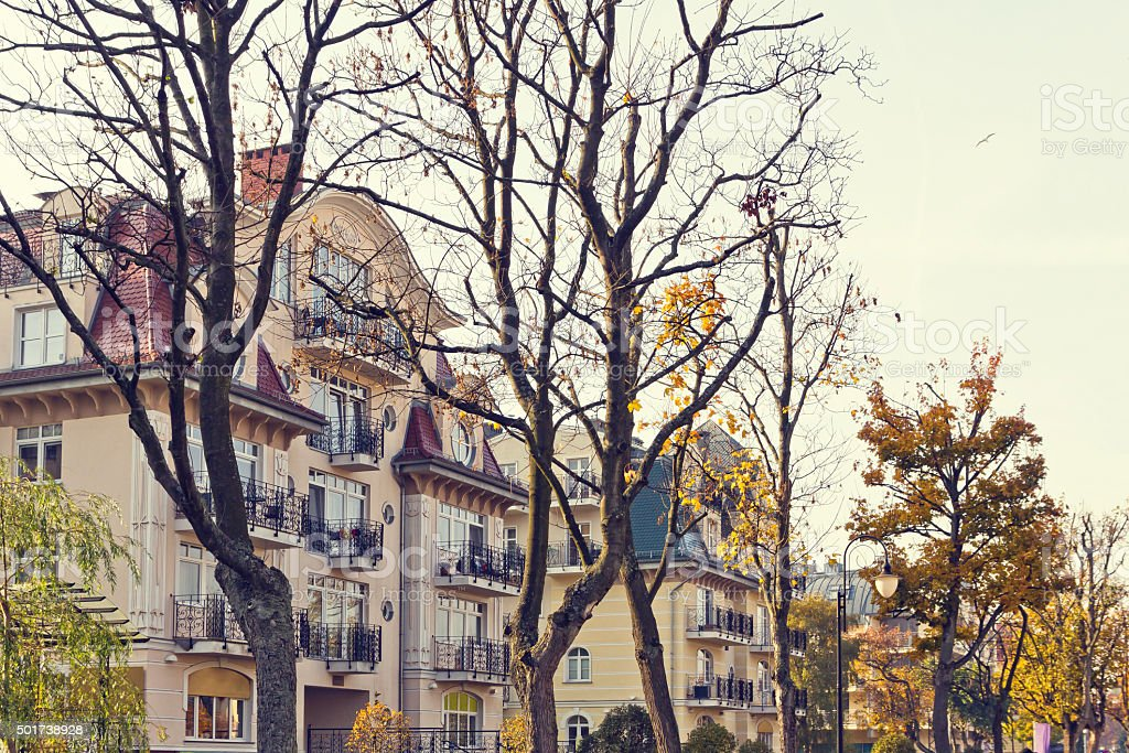 Modern holiday apartment buildings stock photo