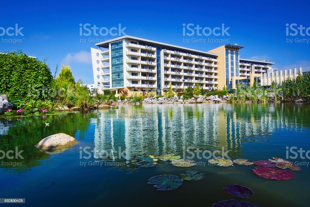 Modern holiday apartment complex stock photo