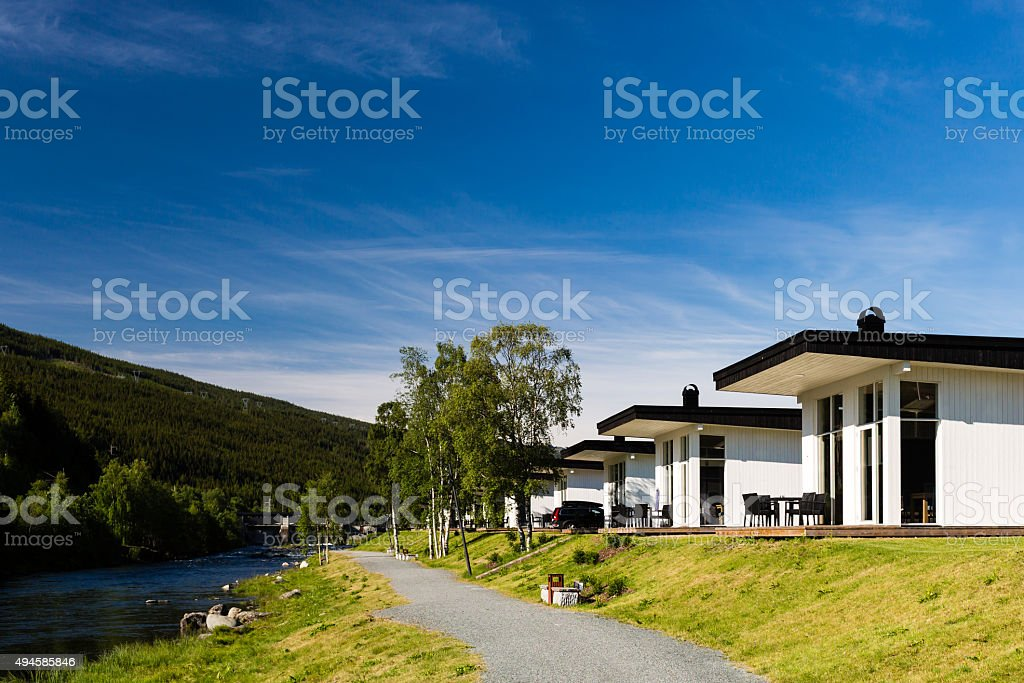 Modern holiday home stock photo
