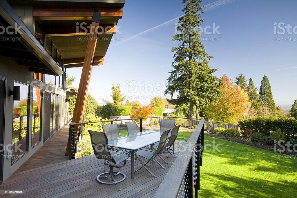 Modern home deck stock photo