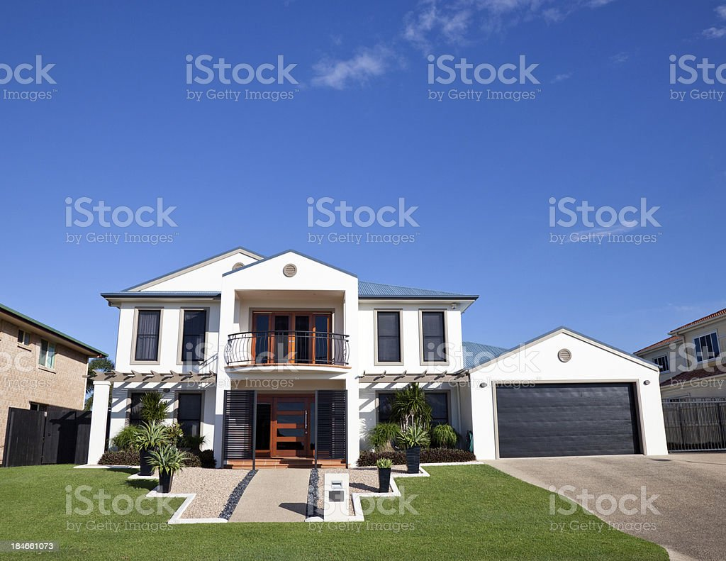 Modern Home Frontage with blue sky royalty-free stock photo