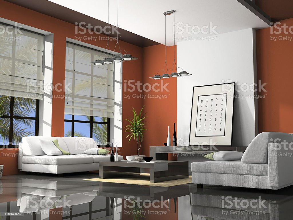 Modern home interior design with simple modern furniture royalty-free stock photo