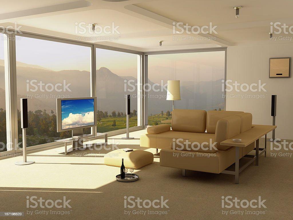 Modern Home Interior - Entertainment Center royalty-free stock photo
