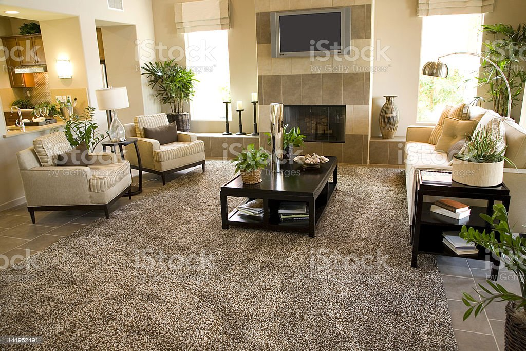 Modern home living room, based on a tan color royalty-free stock photo