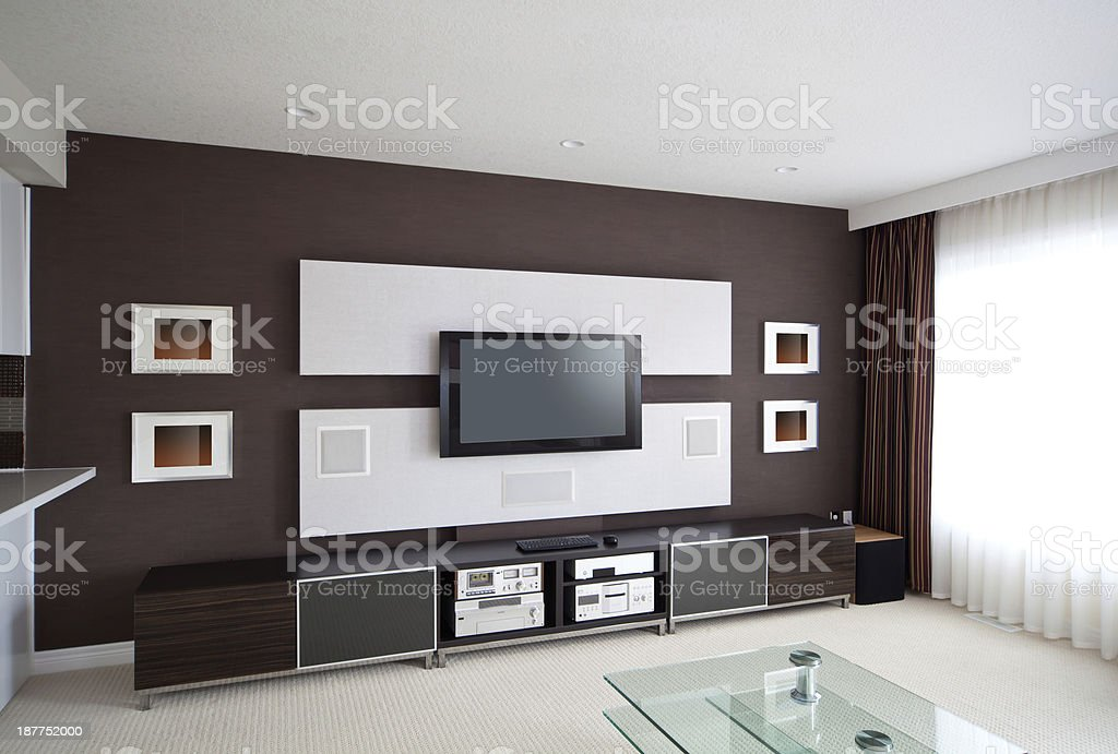 Modern Home Theater Room Interior with Flat Screen TV royalty-free stock photo