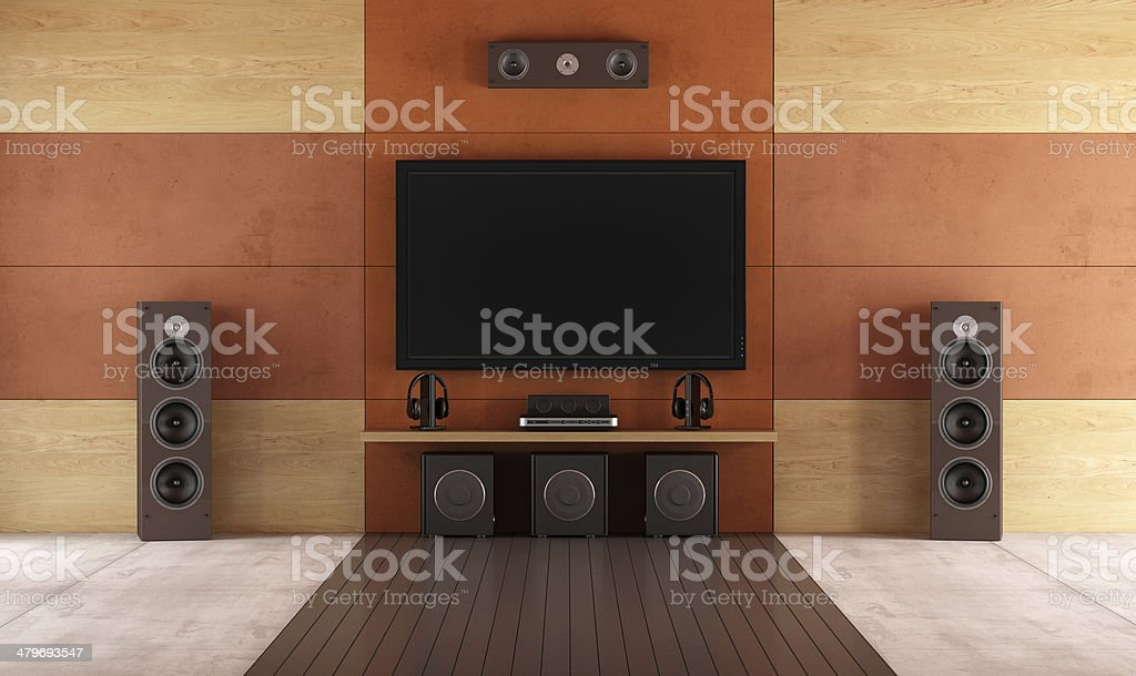 Modern home theater room stock photo