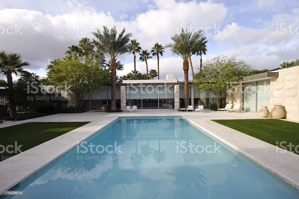 modern home with pool royalty-free stock photo