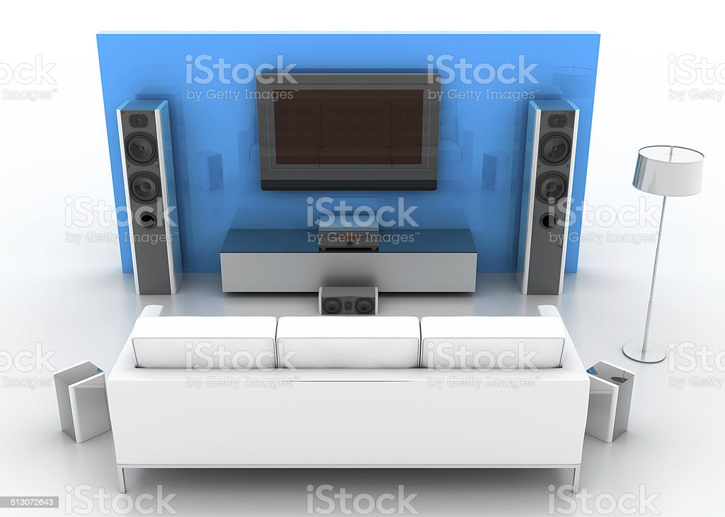 Modern Home-theatre system isolated on white stock photo