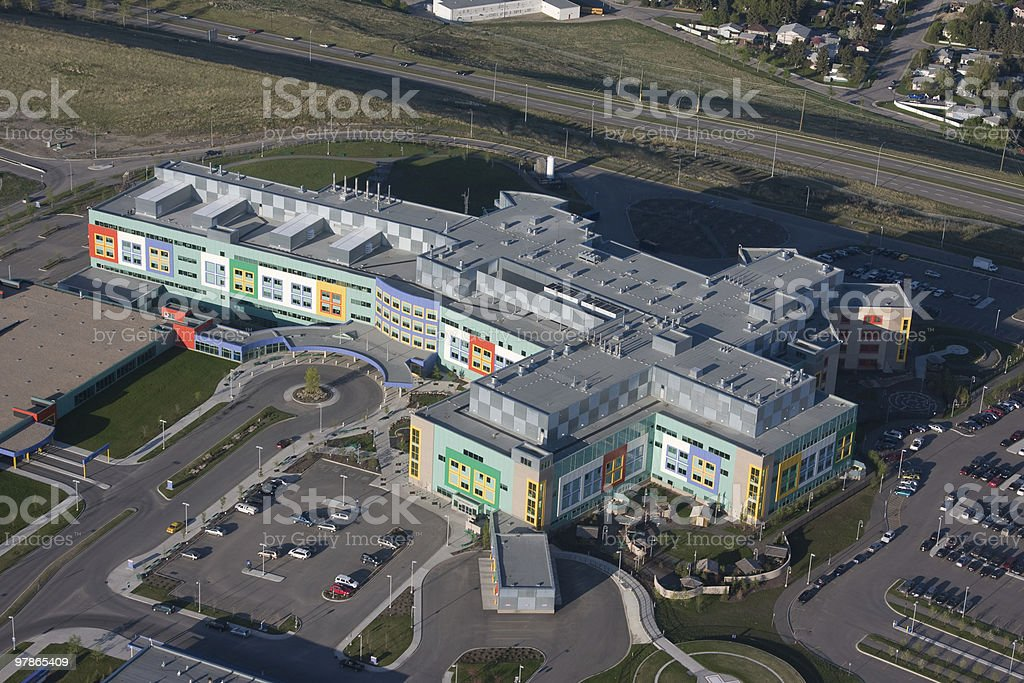 Modern Hospital Aerial View stock photo