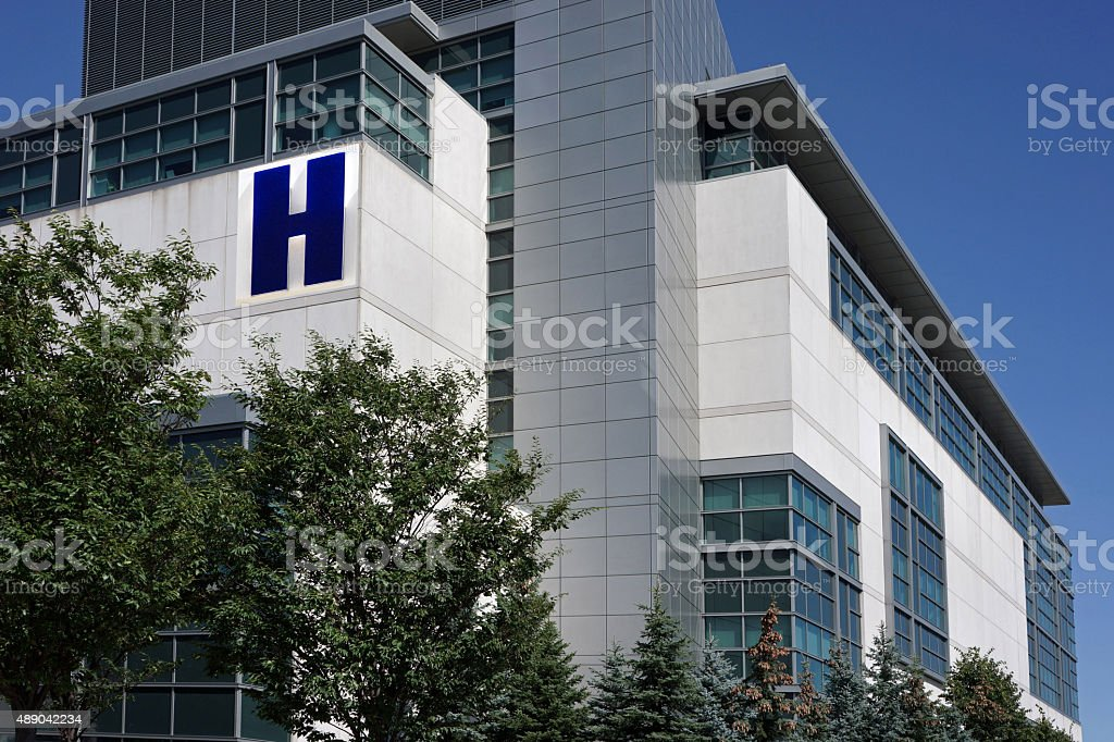 modern hospital building stock photo
