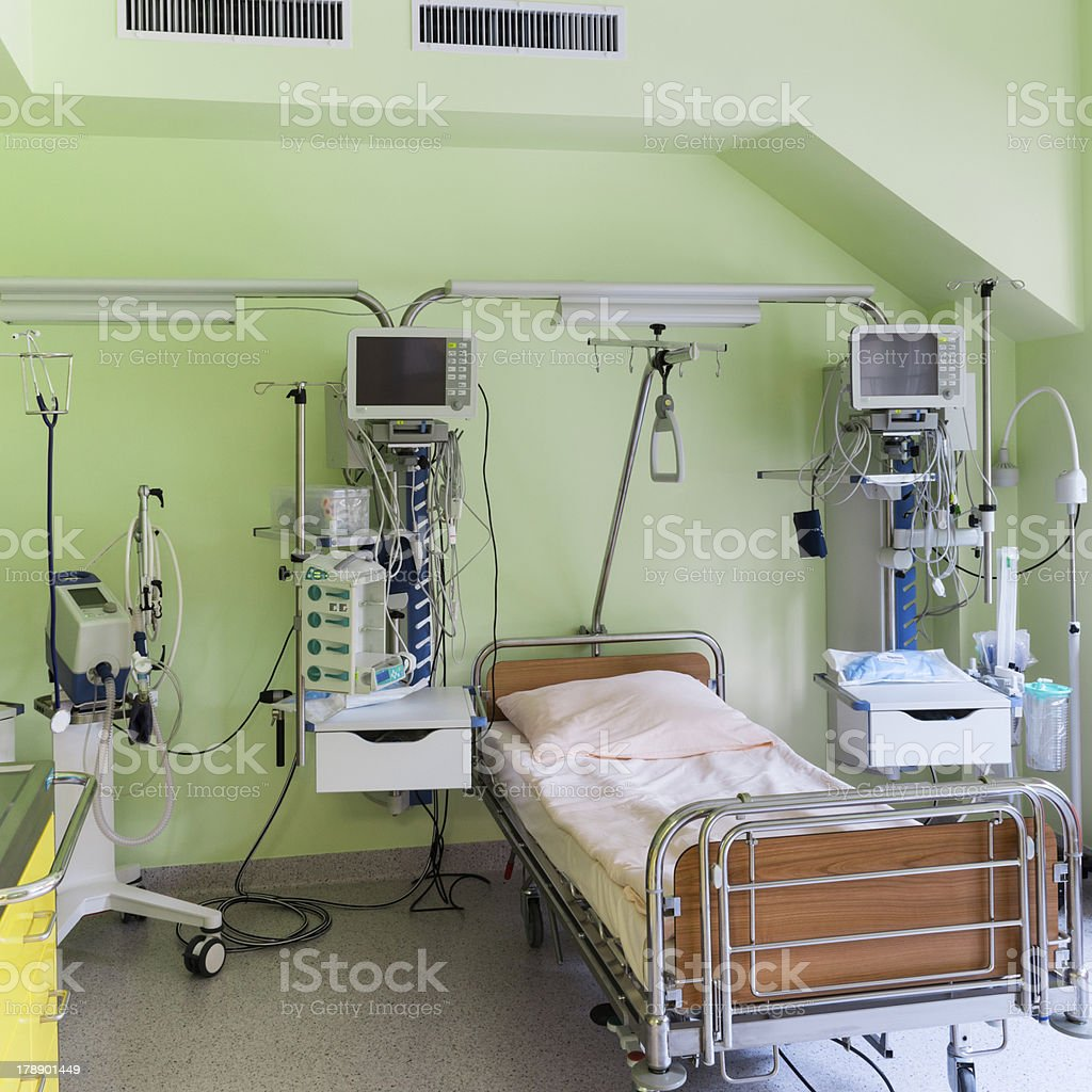 Modern hospital interior - Modern Hospital Interior With Intensive Care Room Waiting For Patient Royalty Free Stock Photo