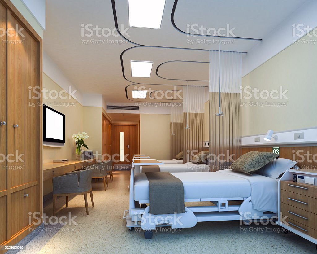 Modern hospital interior - Modern Hospital Ward Day Royalty Free Stock Photo