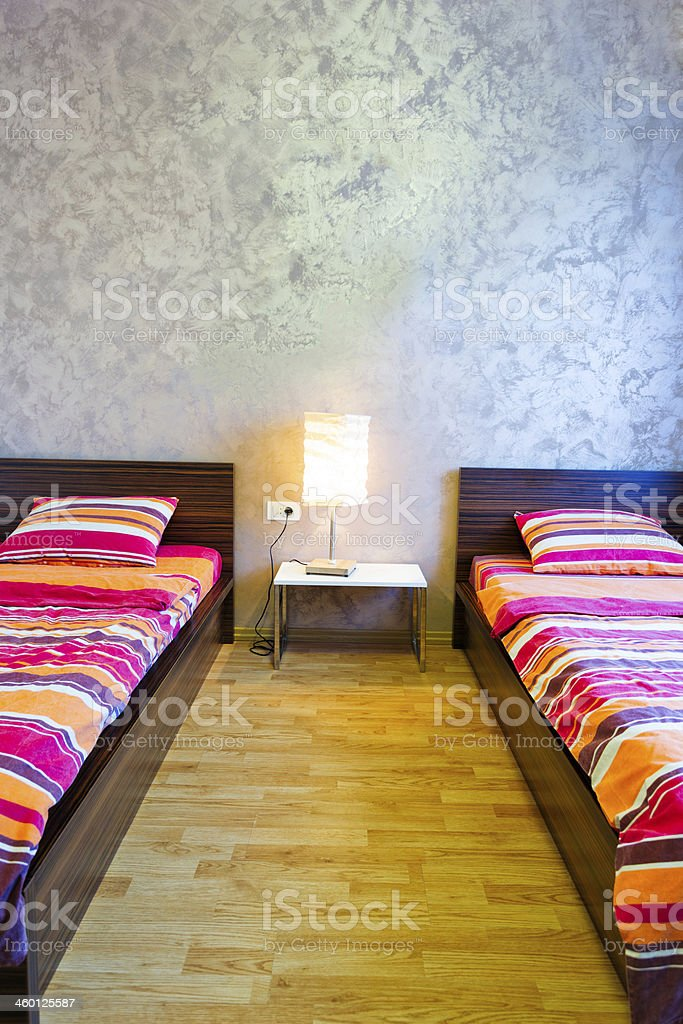 Modern Hotel double bed Bedroom royalty-free stock photo