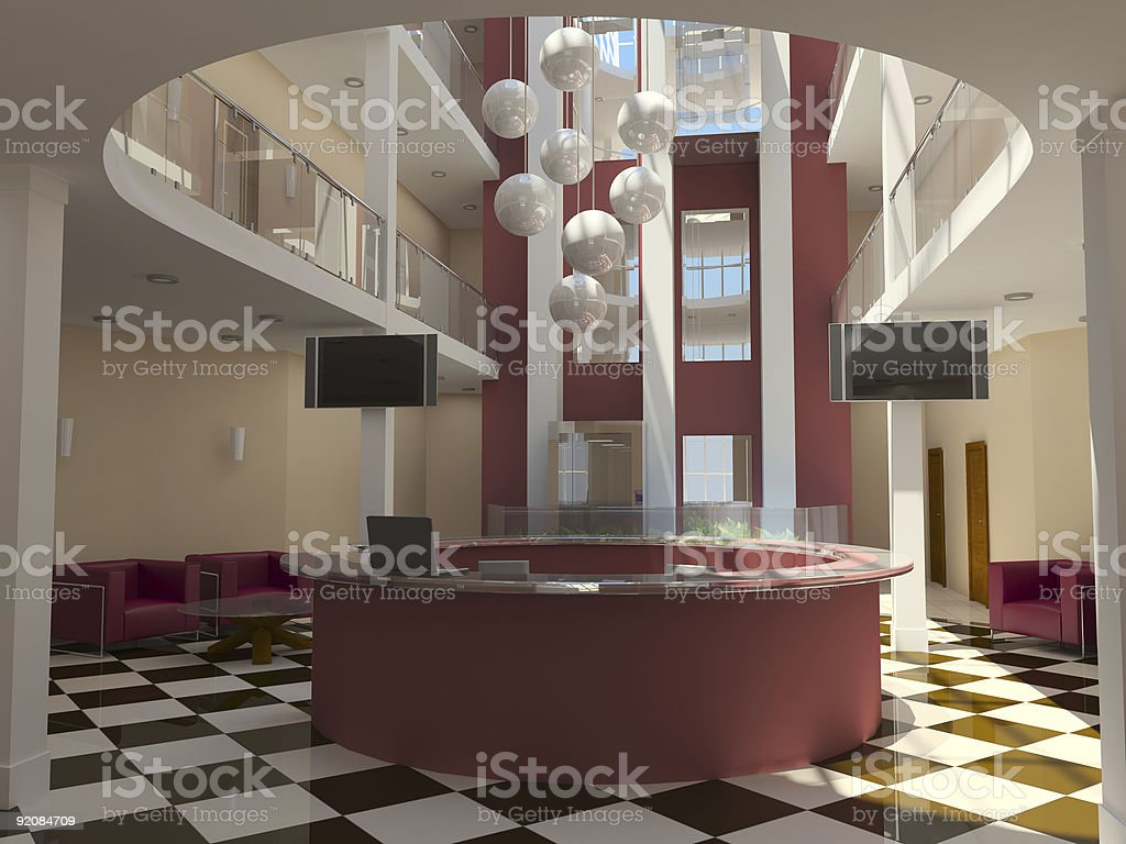 modern hotel lobby with red reception stock photo