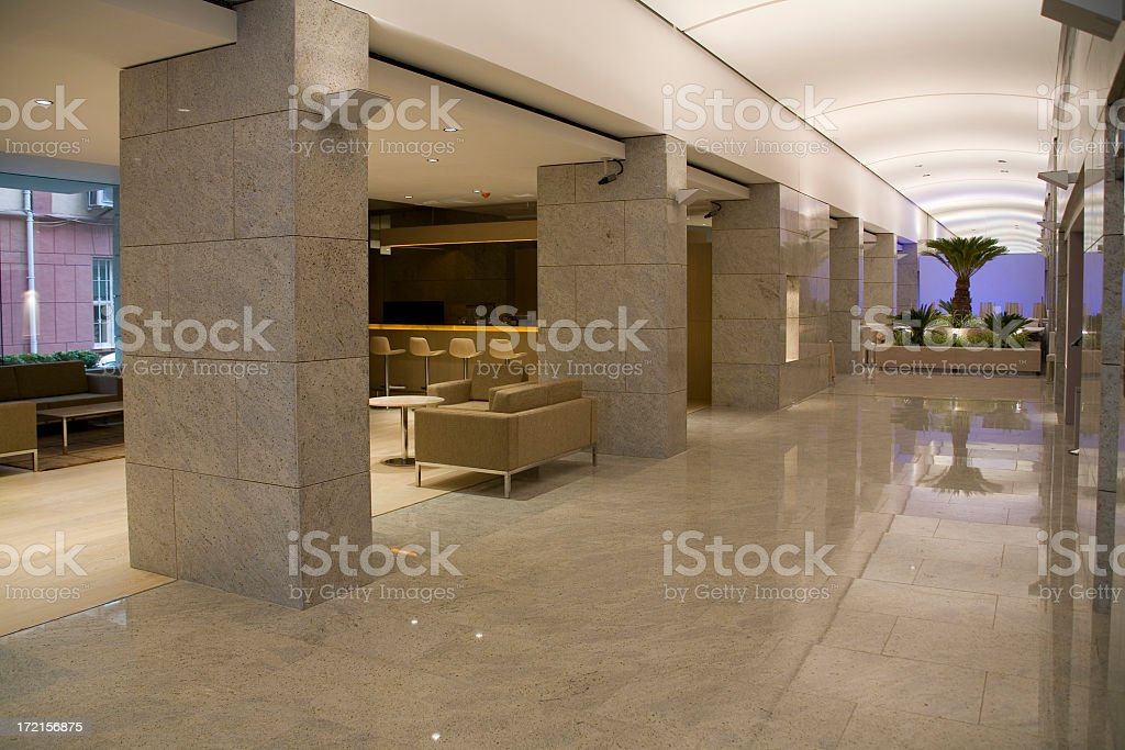 Modern hotel lobby with thick pillars and interior harden royalty-free stock photo