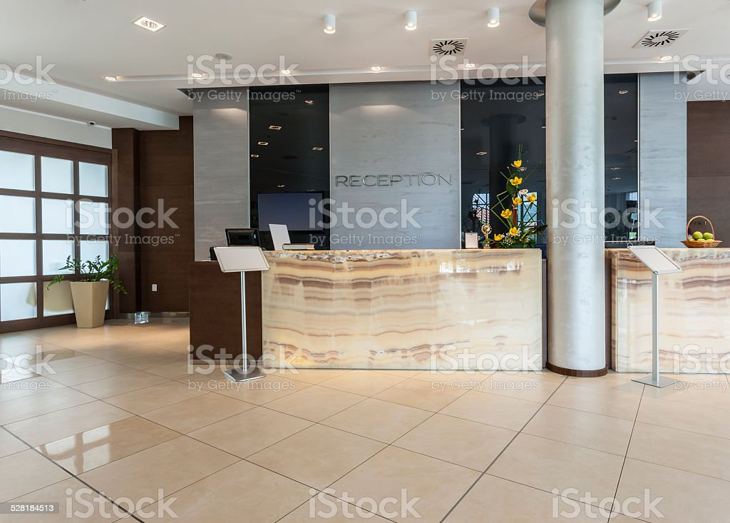 Modern hotel reception stock photo