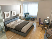 Modern hotel room contemporary style with elements of art Deco.