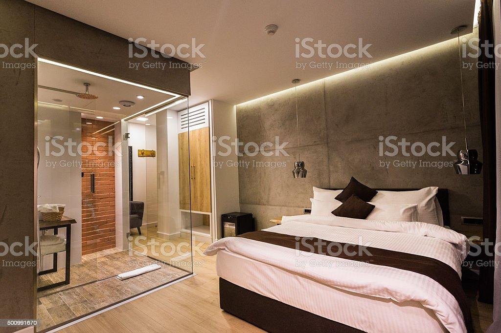 Modern hotel room stock photo
