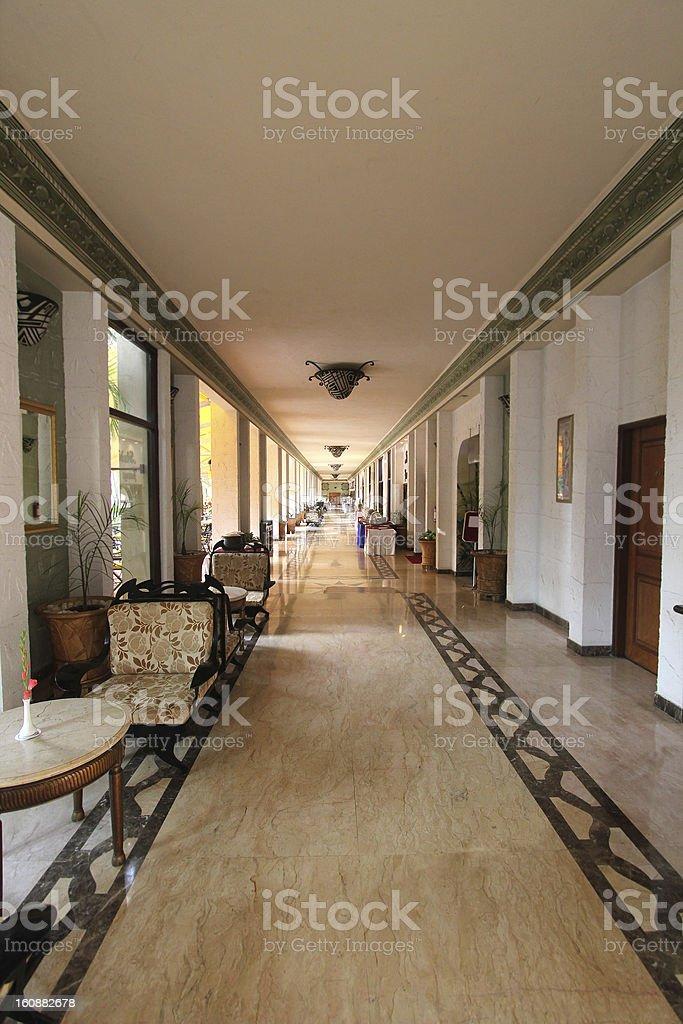Modern  hotel/resort/restaurant corridor with stylish decor royalty-free stock photo