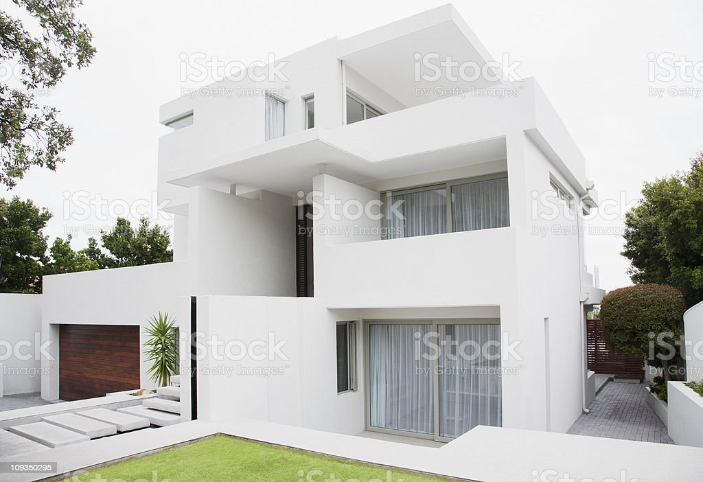 Modern house and backyard stock photo