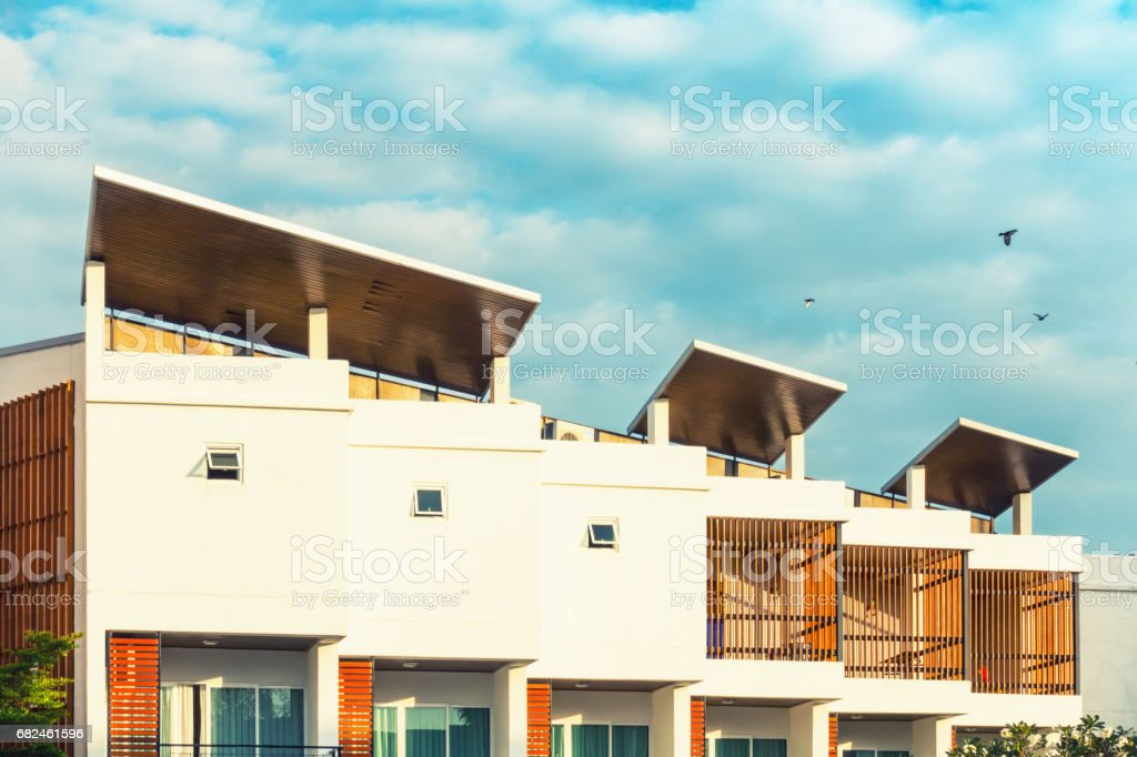Modern house and exterior at sunny day. stock photo