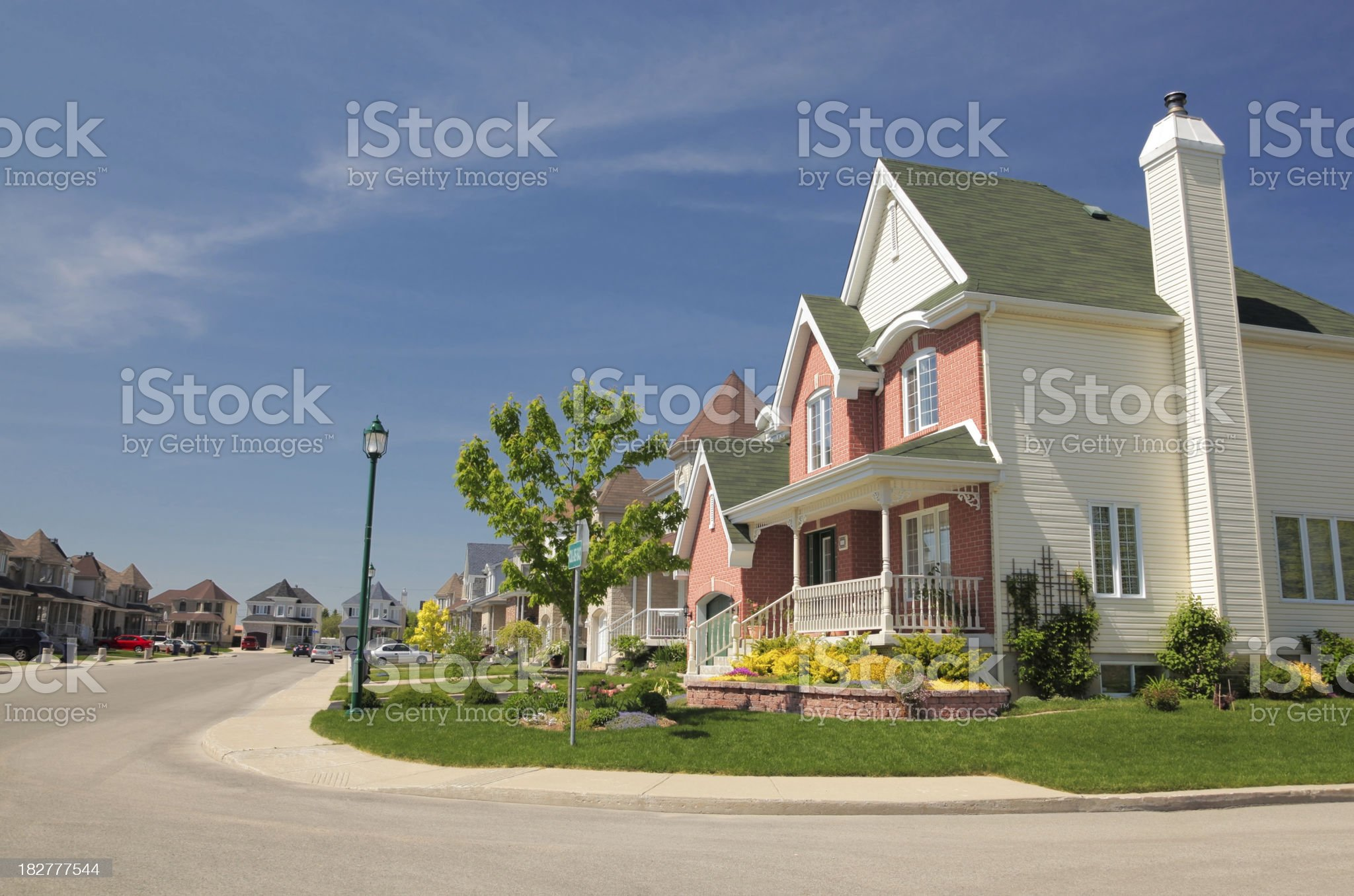 Modern house and street royalty-free stock photo