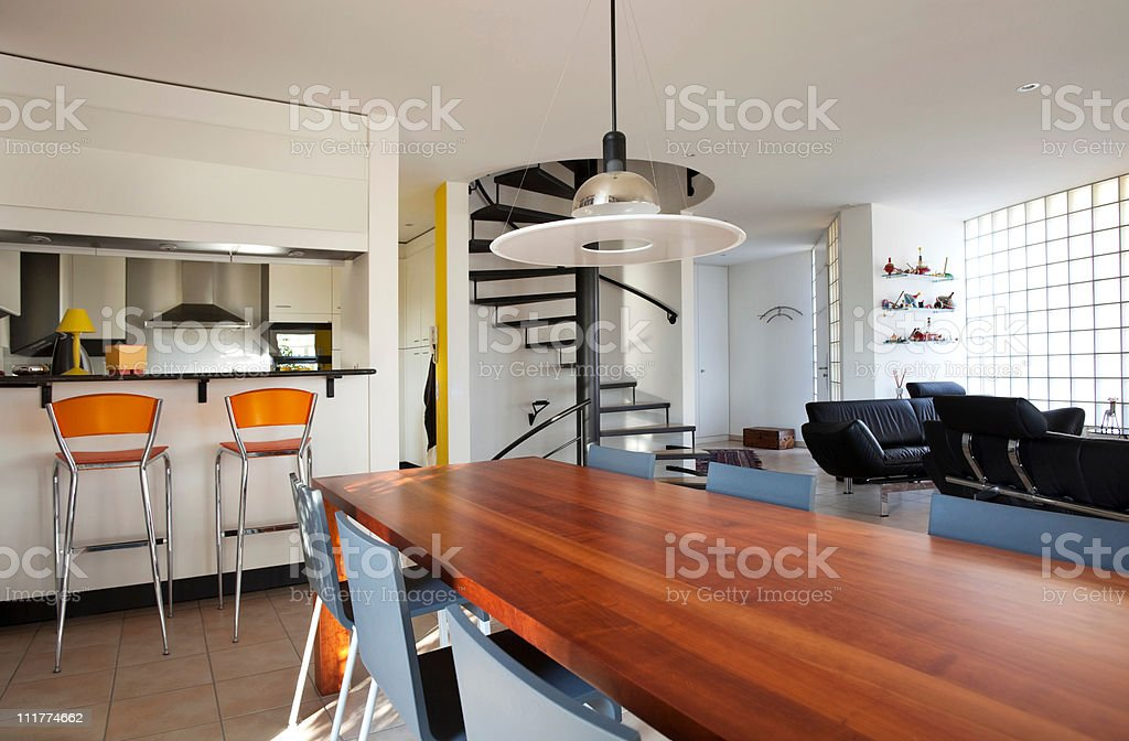 Modern house, dining-room royalty-free stock photo