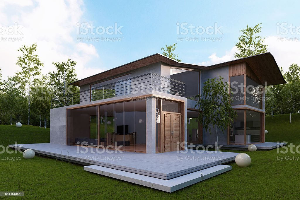 Modern house exterior stock photo