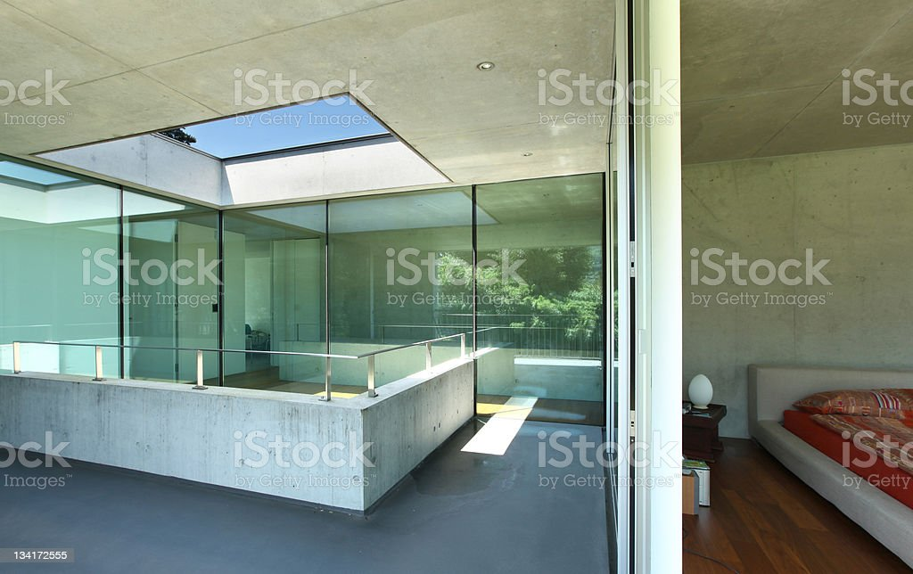 modern house interior, view from hall royalty-free stock photo