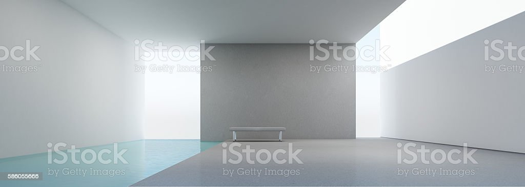 modern house interior with swimming pool stock photo