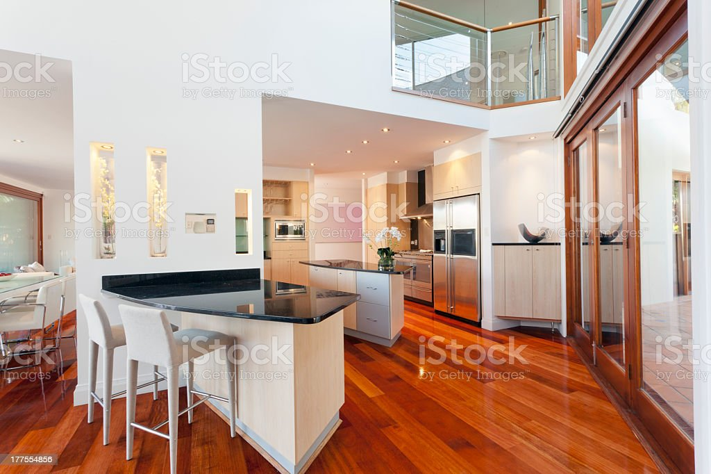 Modern house interior with white walls and wood floors royalty-free stock photo