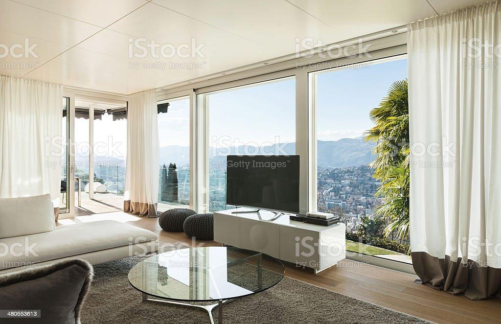 modern house, living room stock photo