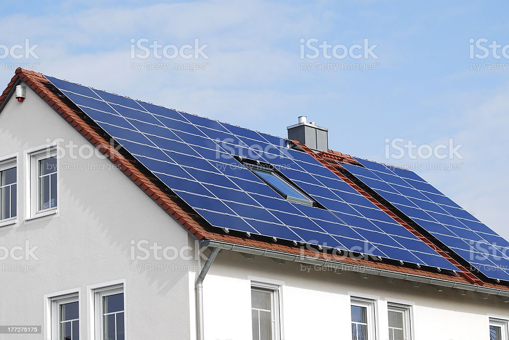 Modern House Roof With Solar Panels royalty-free stock photo