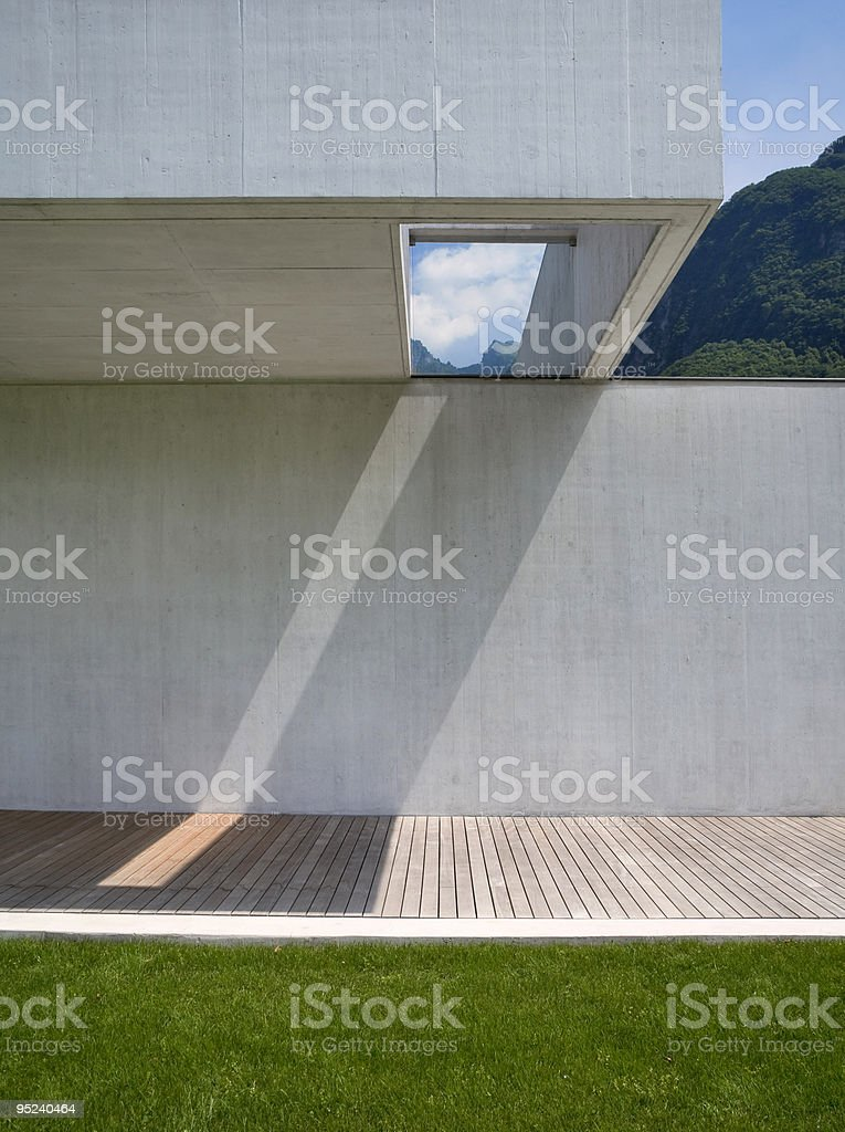 A modern house with a skylight view royalty-free stock photo
