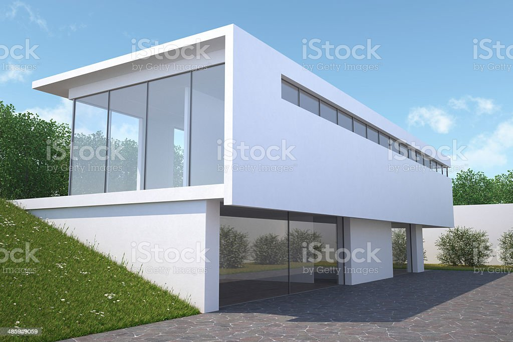 Modern house with garden, exterior view. stock photo