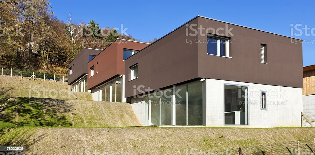 modern house with garden, outdoor royalty-free stock photo