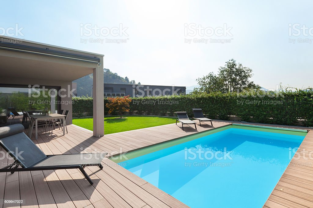 modern house with pool stock photo