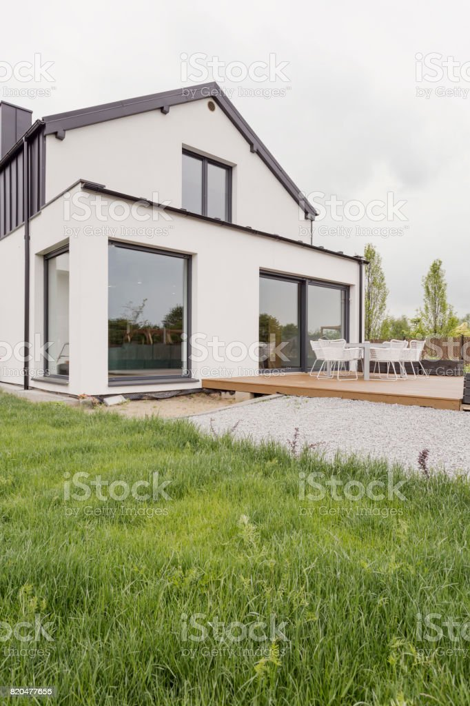 Modern house with white facade stock photo