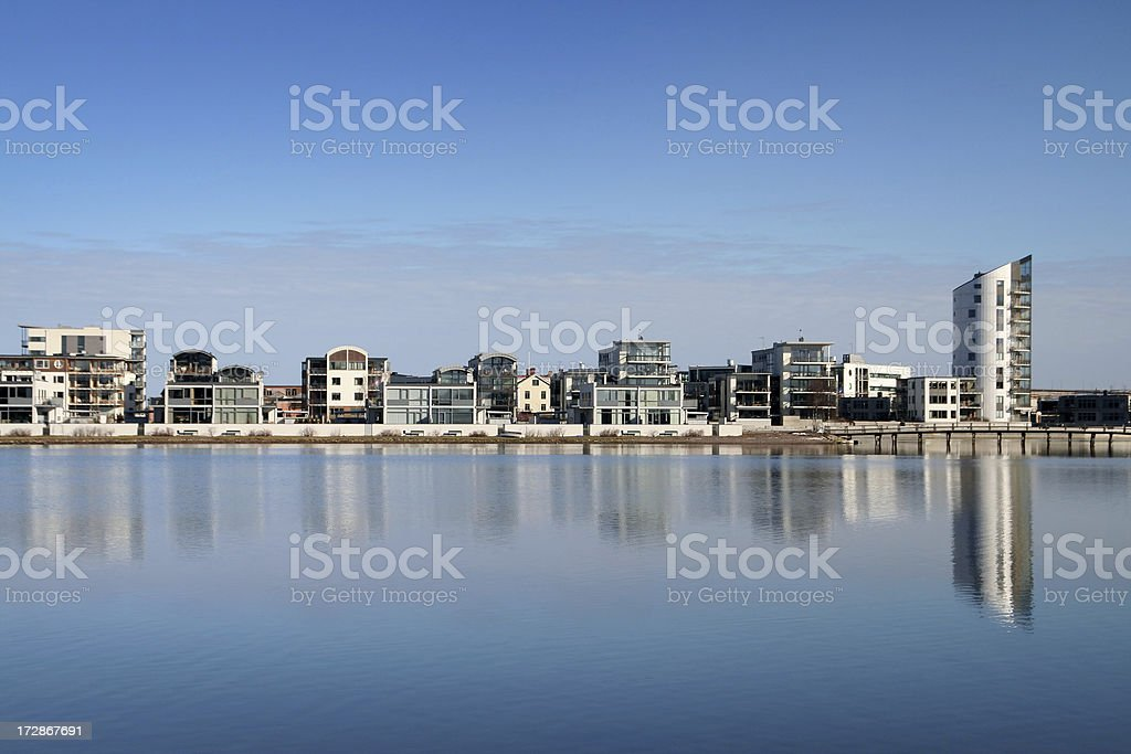 Modern houses by the sea stock photo