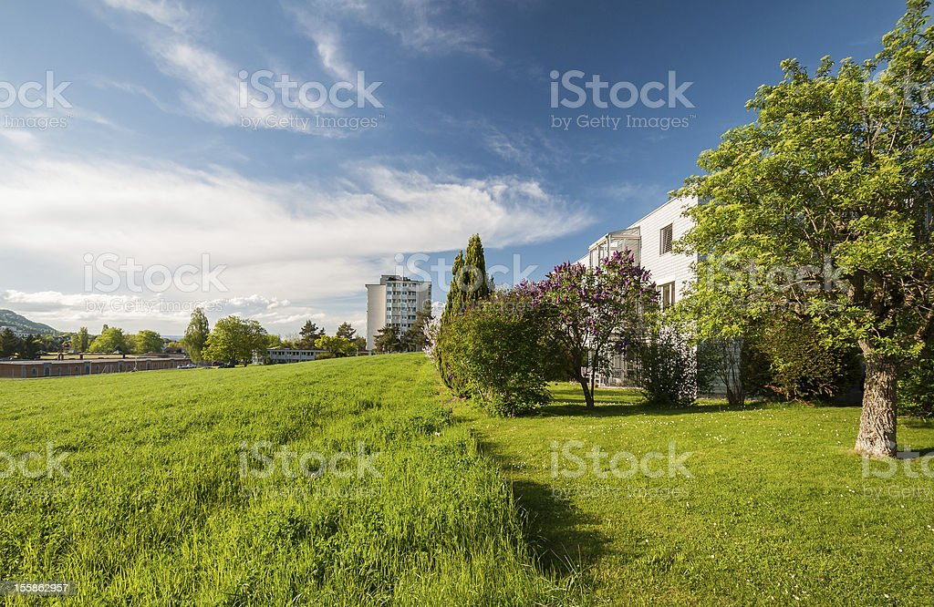Modern houses in the green royalty-free stock photo