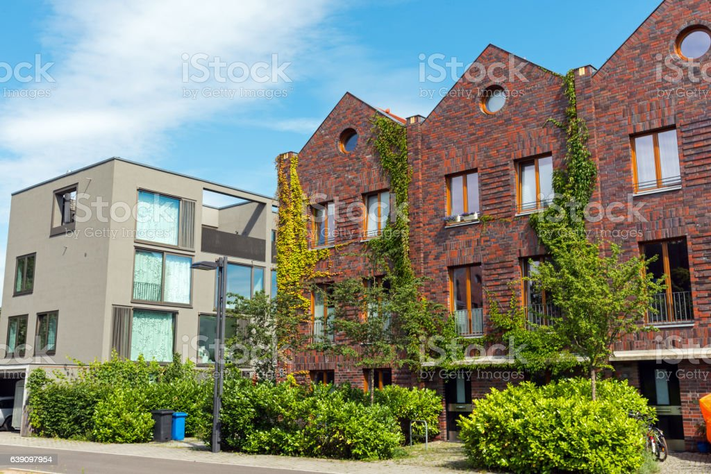 Modern houses made of bricks and concrete stock photo