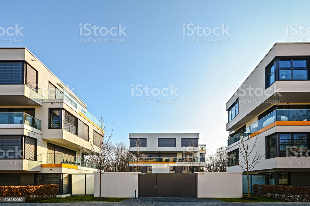 Modern housing in the city - urban residential buildings stock photo