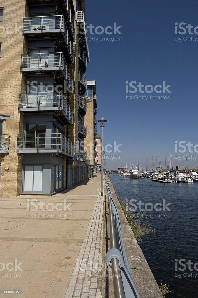 Modern Housing On Marina royalty-free stock photo