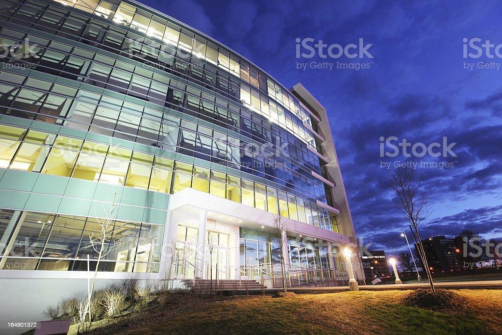 Modern Illuminated Business at Sunset stock photo