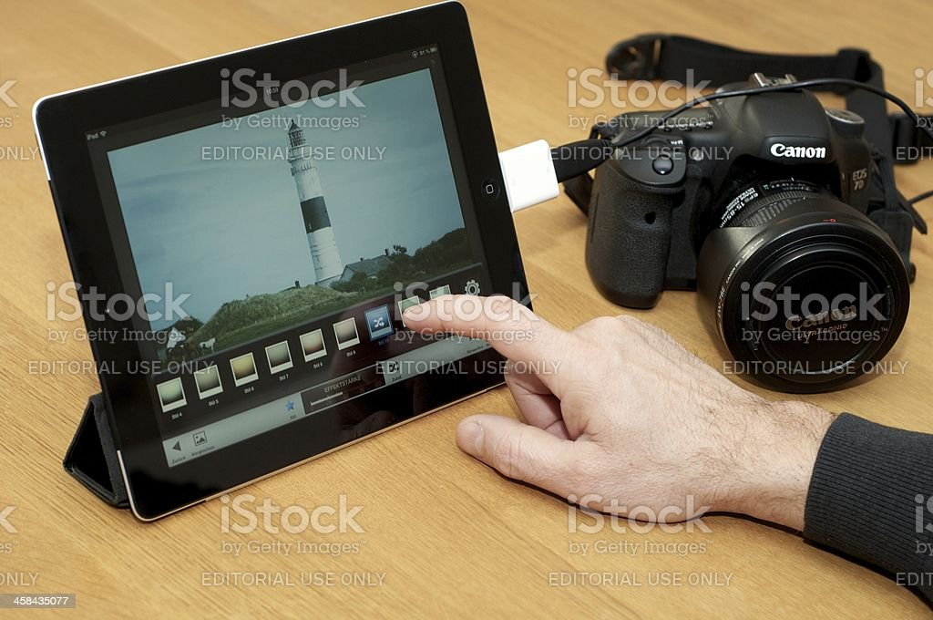Modern image processing on iPad stock photo