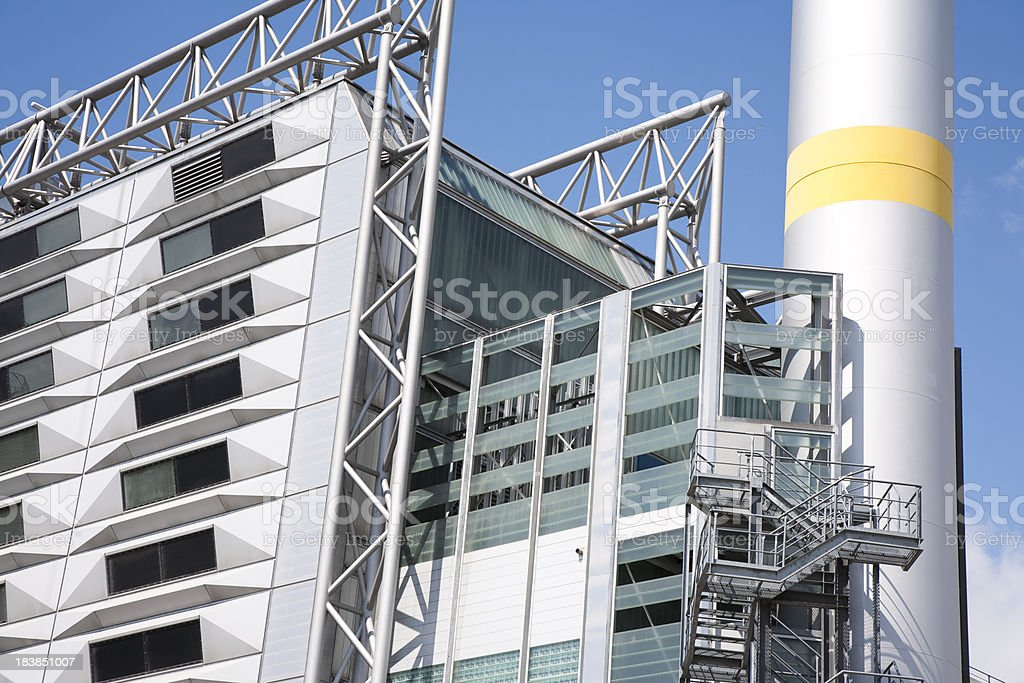Modern Industrial Building Against Blue Sky royalty-free stock photo