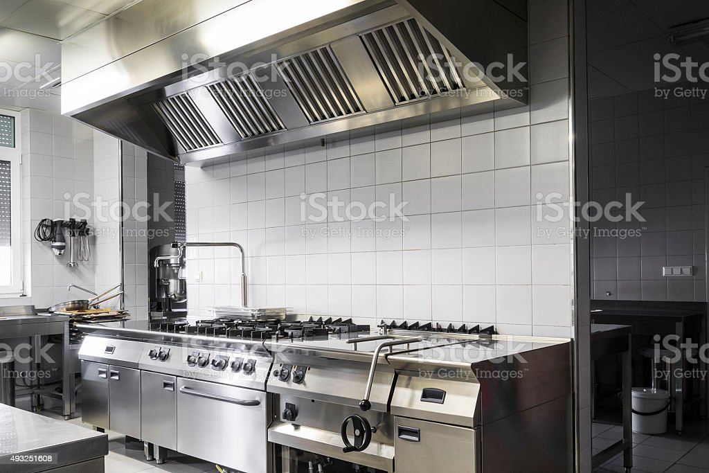 Modern industrial kitchen stock photo