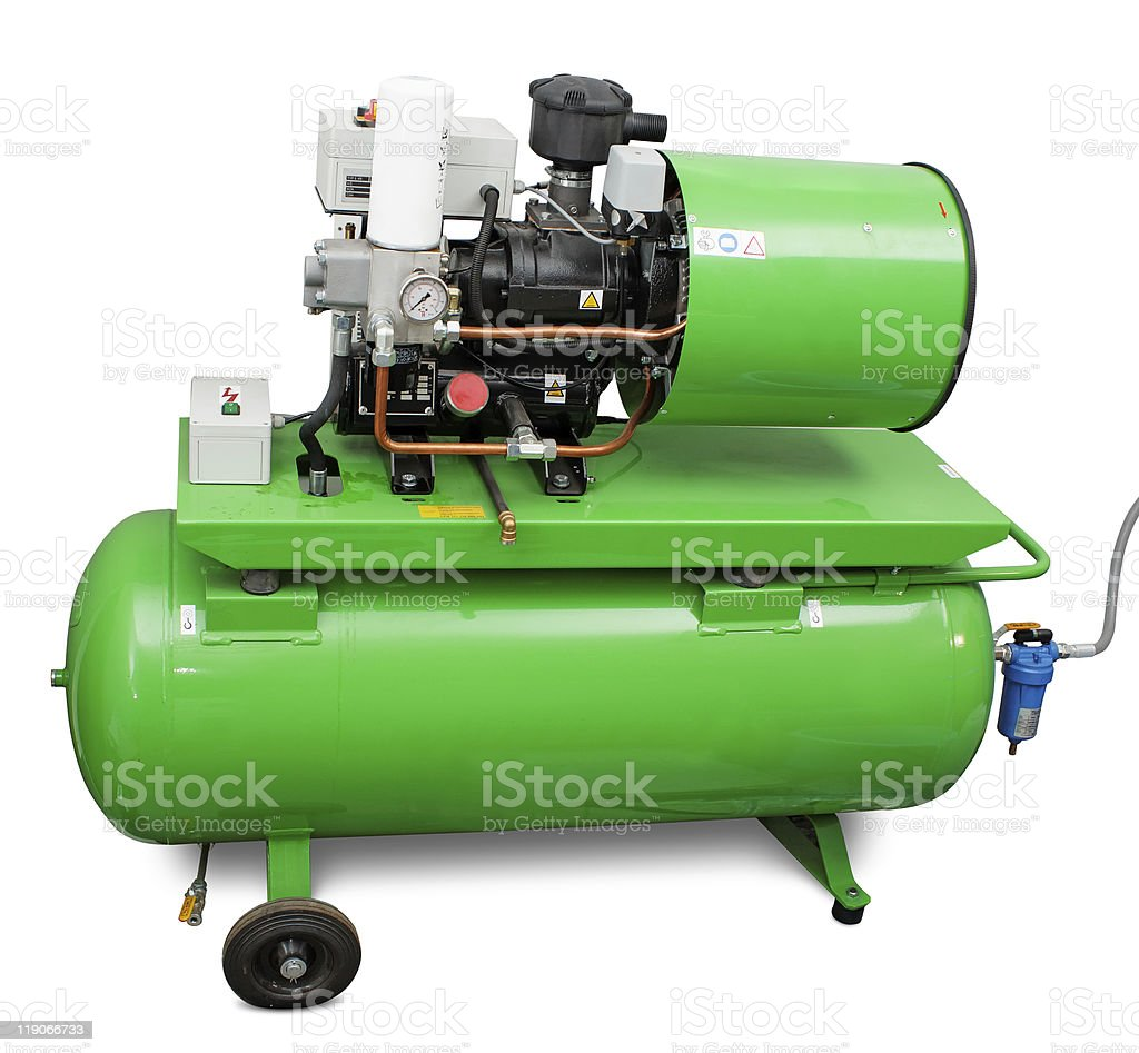 Modern industrial screw-type air compressor stock photo