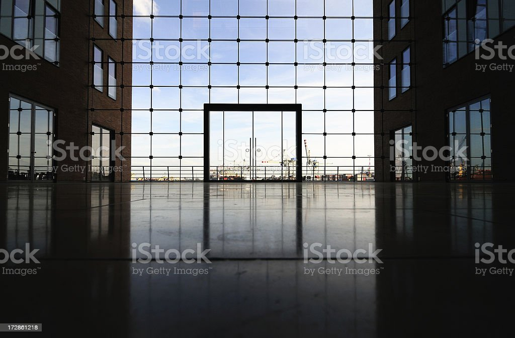 modern inside and view over port hamburg royalty-free stock photo