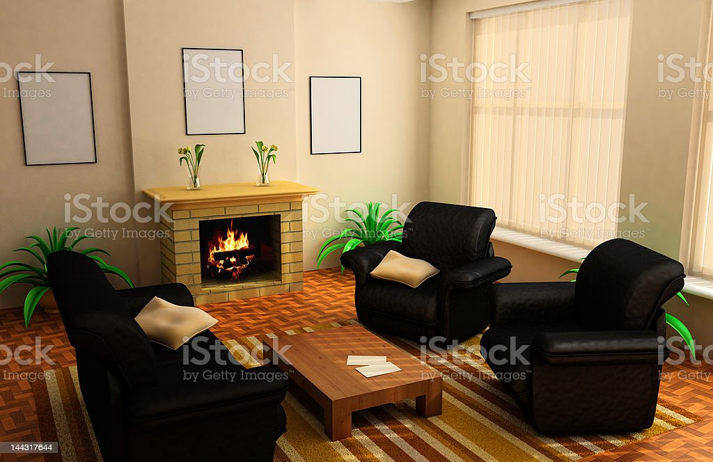 modern interior 3d stock photo